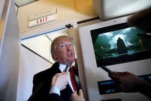 U.S. President Donald Trump talks to journalists, members of the travel pool, on board of Air Force One during his trip to Palm Beach, Florida, U.S., April 6, 2017.
