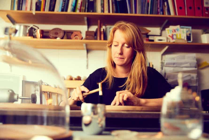 Silversmith Shona Marsh in her studio at Cockpit Arts in Deptford, London.