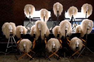 New York City, USA: Wigs are readied for the Blonds collection