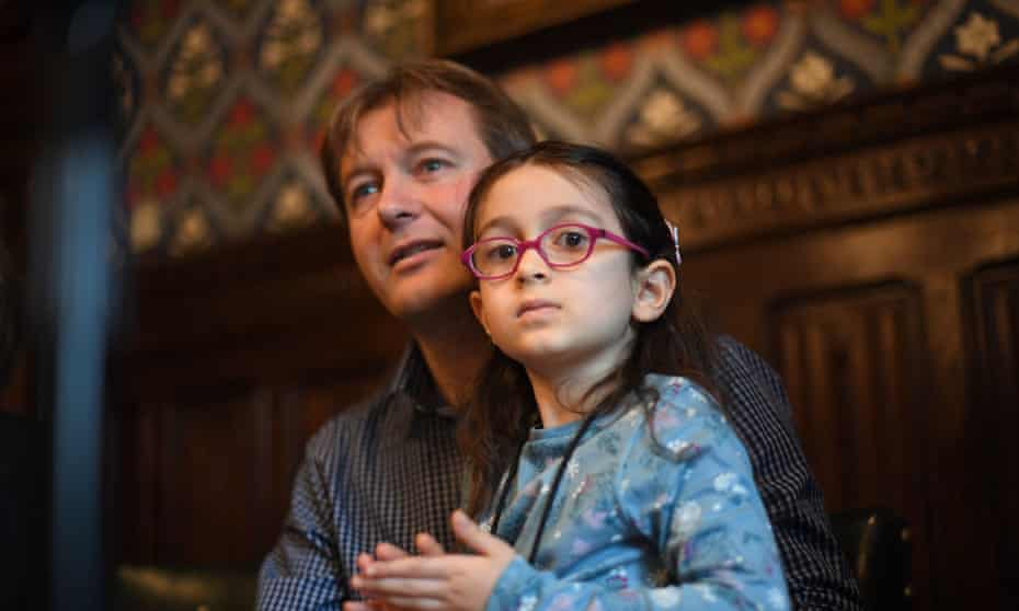 Richard Ratcliffe with his daughter, Gabriella, in London in October 2019.