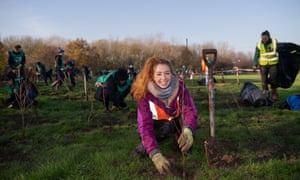 Tree-planting at Beckton District Park South in London.