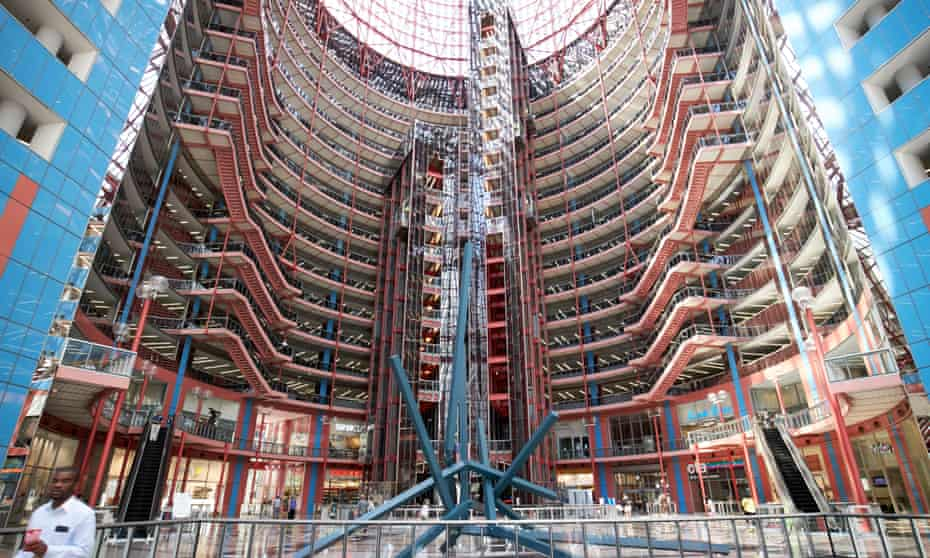 The conical atrium of the James R Thompson Center in Chicago, designed by Helmut Jahn and completed in 1985.