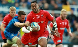 Billy Vunipola leads a Saracens break during the Champions Cup final against Leinster.