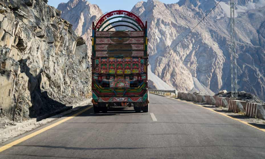 Driving on the Karakoram Highway, built by the governments of Pakistan and China.