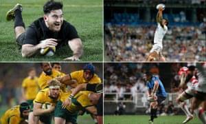 Clockwise from top left:New Zealand All Blacks' Nehe Milner-Skudder, England's Courtney Lawes, Agustin Ormaechea of Uruguay, David Pocock of Australia
