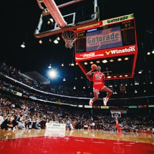 Michael Jordan mid-leap at the Slam Dunk contest in Chicago, 1988