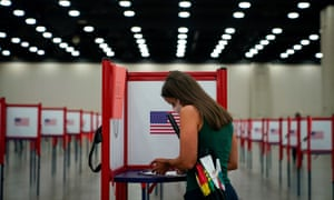 A voter completes a ballot in Louisville, Kentucky, on 23 June.