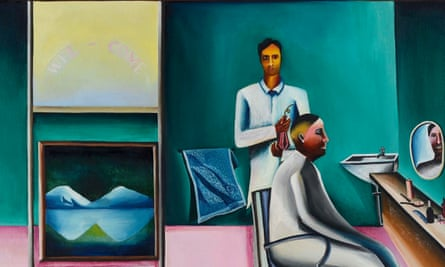 A detail from Bhupen Khakhar's Barber's Shop (1973
