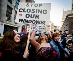 Many of Amsterdam's sex workers protested against the closure of window brothels in 2015.