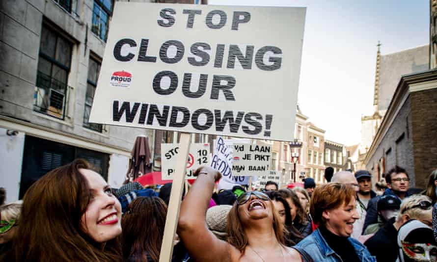 Protest against the closure of window brothels in Amsterdam in 2015. Closure of more windows is one proposal the city's new mayor is considering.