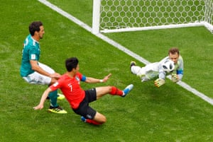 Son gets to the rebound, but Neuer covers.