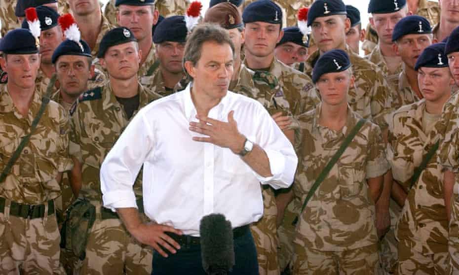 Tony Blair addresses British troops in Basra, 2003.