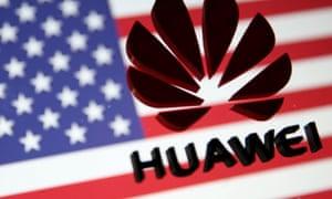 A Huawei logo and a US flag