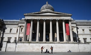 Buskers play to no audience outside the National Gallery in London, Britain on 16 March 2020