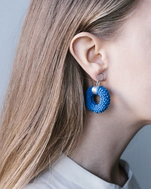 Nautilus silver silicone earrings, by Dovile Bertulyte