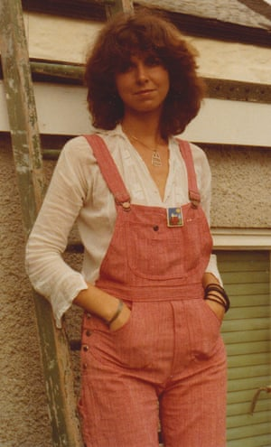 Lesley Kazan-Pinfield, pictured on her wedding day in her homemade dungarees.