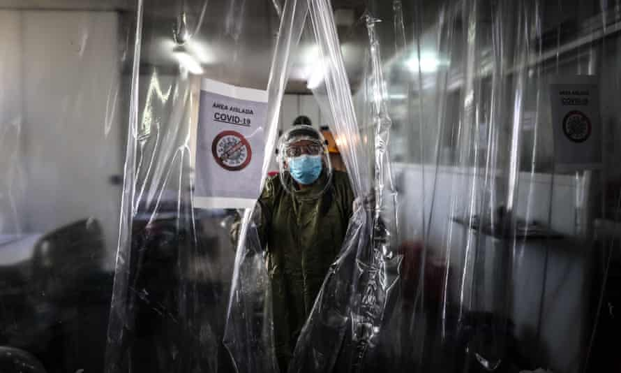 A healthcare worker at a hospital in Buenos Aires, Argentina.