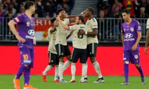 Marcus Rashford and Manchester United celebrate the first goal.