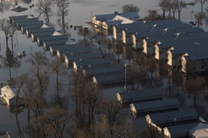 Flooded Camp Ashland, Army National Guard facility, is seen in this aerial photo taken in Ashland, Nebraska, U.S., March 17, 2019.