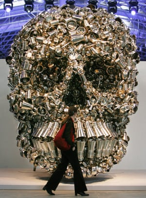 Very Hungry God skull sculpture by Subodh Gupta