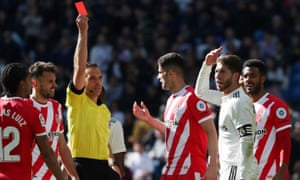 Sergio Ramos gets his marching orders against Girona.