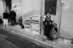 Every Monday Rahmouna goes to the food bank run by the Restos du Cœur charity. It is her only option as she has no family support, no social benefits and no bank account. Carcassonne, France, November 2019