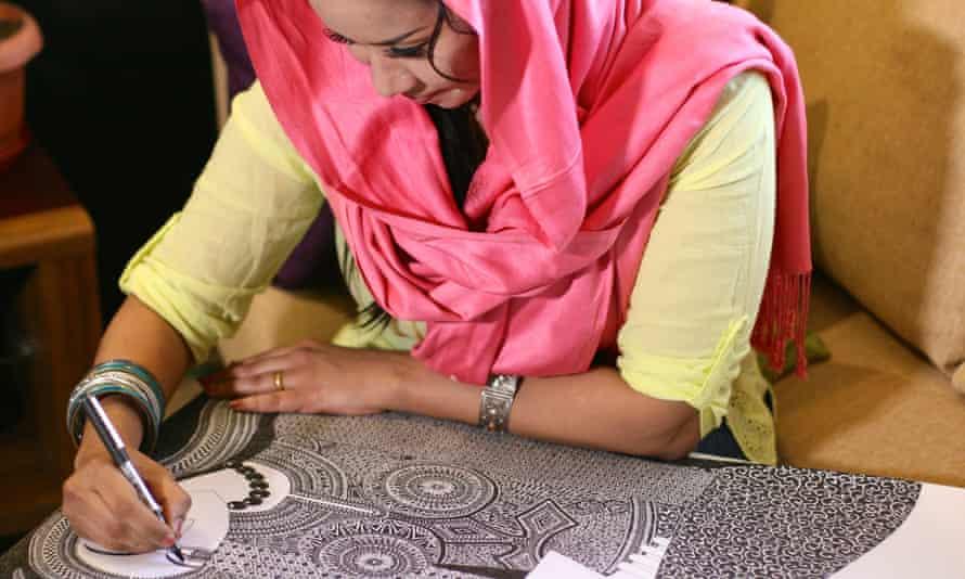 Featured artist Amel Bashir in her studio in Khartoum.