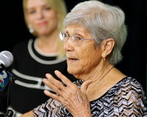 Ovell Krell, sister of George Owen Smith, the first victim positively identified from one of the 55 unmarked graves speaks during a news conference on 7 August 2014, at the University of South Florida in Tampa, Florida.