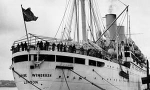 The Empire Windrush arriving in the UK from Jamaica in 1948
