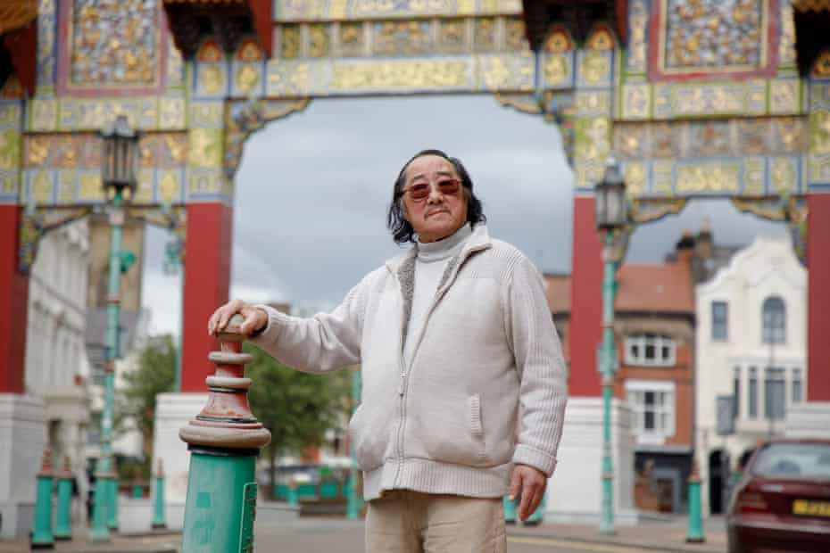 Peter Foo at Chinatown Gate on Nelson Street, Liverpool.