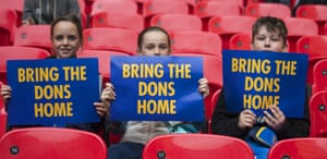 Young Wimbledon fans at Wembley.