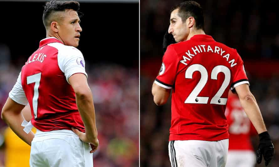 Arsenal's Alexis Sánchez, left, looks set to join Manchester United with Henrikh Mkhitaryan going in the opposite direction.