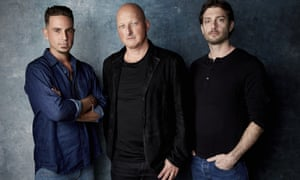 From left: Wade Robson, director Dan Reed and James Safechuck pose for a portrait to promote the film 'Leaving Neverland' at the Sundance Film Festival in Park City, Utah, on 24 January.