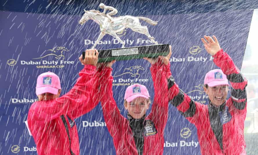 Josephine Gordon, Hollie Doyle and Hayley Turner celebrate 2018 Shergar Cup victory
