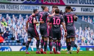 Leeds United midfielder Mateusz Klich is congratulated after scoring his side's third goal against Blackburn.