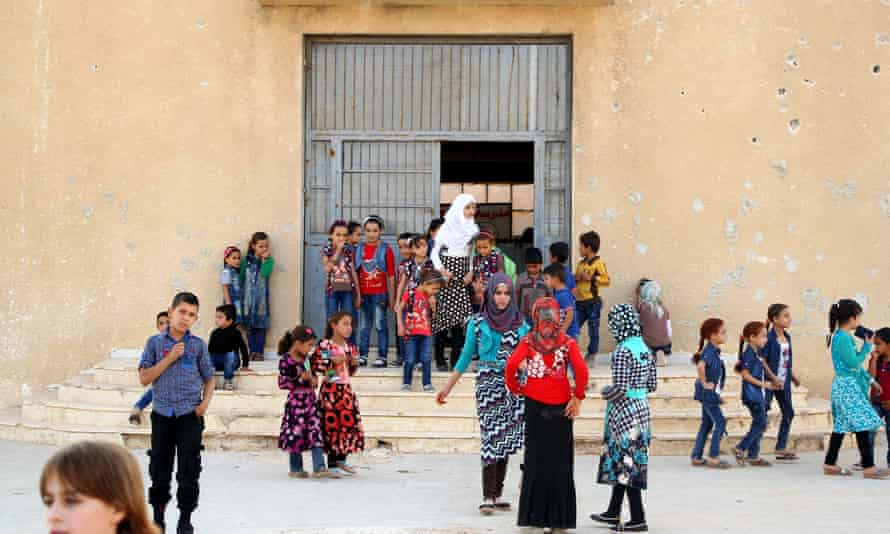 The first day of term at a school in Maarat al-Nu'man in Idlib province