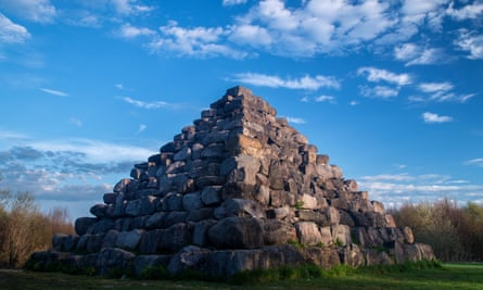 A 'Pyramid' sculpture in morning sun at Lough Boora Discovery Park, County Offaly, Ireland