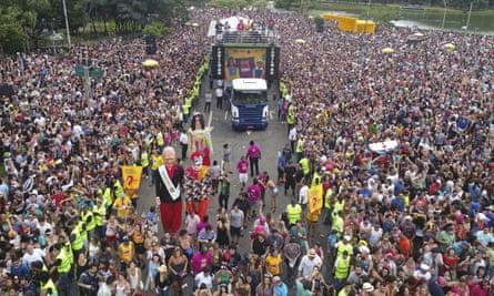 """The Bicho Maluco Beleza carnival """"bloco"""" parade in Sao Paulo, Brazil, on 3 February."""