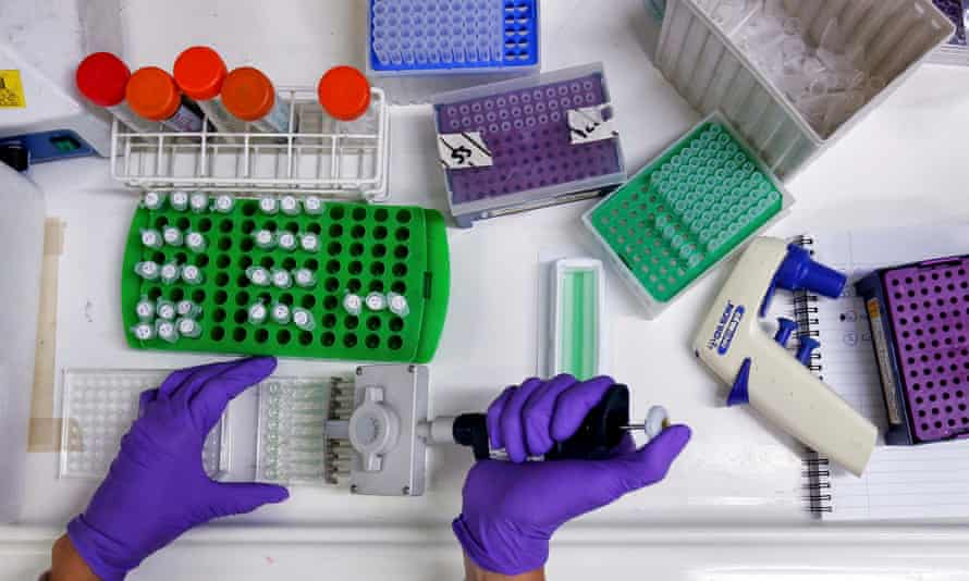 A scientist preparing protein samples for analysis in a lab at the Institute of Cancer Research in Sutton.