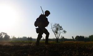 A US Army soldier patrols near Baraki Barak base in Logar Province.