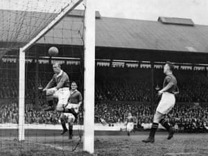 Hughie Gallacher heads in for Chelsea against Manchester United in a 6-2 win in September 1930.