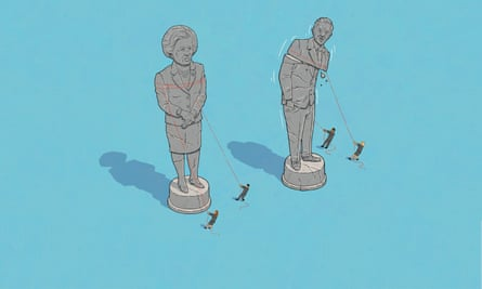 illustration: statues of margaret thatcher and tony blair being torn down