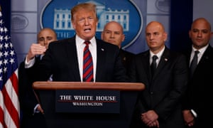 Donald Trump speaks to reporters about border security with members of the National Border Patrol Council in the briefing room of the White House on 3 January.
