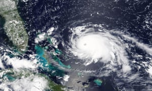 A handout photo made available by Nasa on 1 September shows Hurricane Dorian over the Atlantic Ocean approaching the Bahamas and Florida.