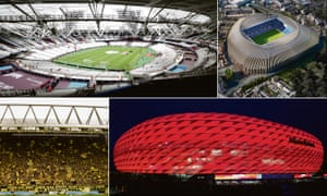 The London Stadium, plans for Chelsea's on-hold ground, the Yellow Wall at Borussia Dortmund and the Allianz Arena in Munich.