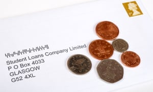 Letter with coins addressed to the Student Loans Company