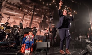 Anything but downbeat … Damon Albarn fronts The Good the Bad & the Queen in Blackpool, with assistance from his dummy …
