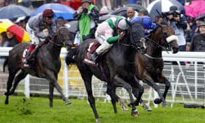 Here Comes When and Jim Crowley, centre, win the Sussex Stakes at Glorious Goodwood from Ribchester.