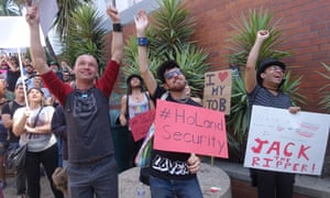 A protest in San Francisco against the raid in New York on Rentboy by Homeland Security.