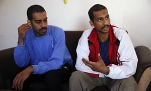 Alexanda Kotey and El Shafee Elsheikh speak during an interview with the Associated Press at a security centre in Kobani, Syria, in 2018.